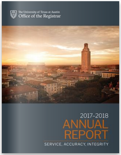 Cover of the 2017-2018 UT Registrar Annual Plan showing photo and report title